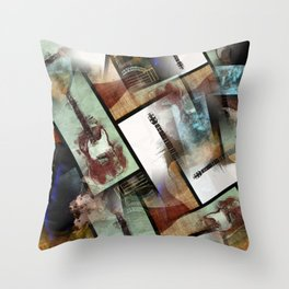 6-Stringed Collage Throw Pillow