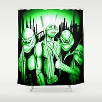 ninja turtles Shower Curtains featuring  Ninja Turtles by shannon's art space