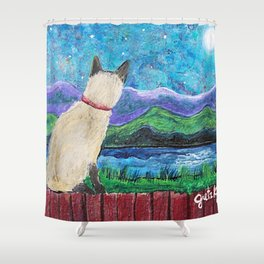 Siamese Cat in the Moonlight Painting Shower Curtain