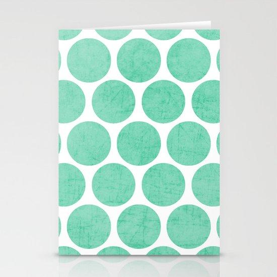 mint polka dots Stationery Cards