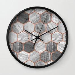 Marble Hexagons Wall Clock