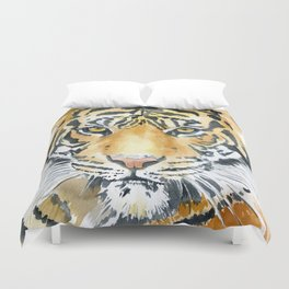 Tiger Watercolor Painting Duvet Cover