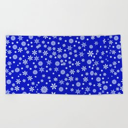 Snowflakes on Dark Blue Beach Towel