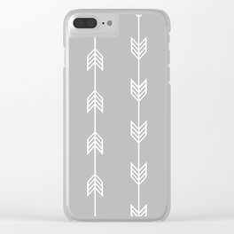 Running Arrow in White and Grey Clear iPhone Case