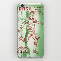 soccer iPhone & iPod Skins featuring Soccer king by Irène Sneddon