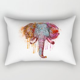 Watercolor Elephant Head Rectangular Pillow