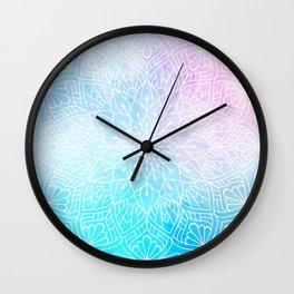 Watercolor White Mandala Illustration Pattern Wall Clock