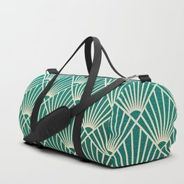 Teal golden Art Deco pattern Duffle Bag