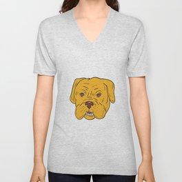Bordeaux Dog Head Cartoon Unisex V-Neck