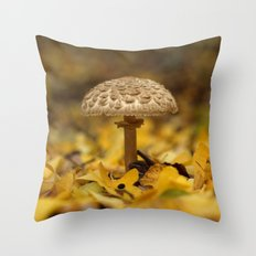 Lepiota Mushroom Under The Ginkgo Tree... Throw Pillow