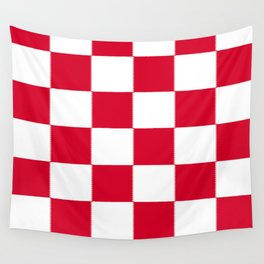 Red and white zig zag checkered artwork Wall Tapestry