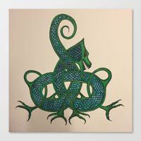 celtic Canvas Prints featuring Celtic Dragon by Erin Malbuisson-Delaney