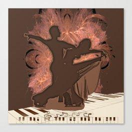 Ballroom Dance Couple On Piano Keys Canvas Print