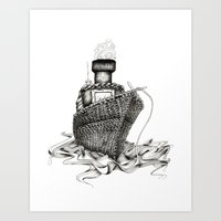 Knitted Ship Art Print
