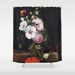"Cornelis Kick ""Roses, poppies, hollyhocks, a marigold and other flowers"" Shower Curtain"