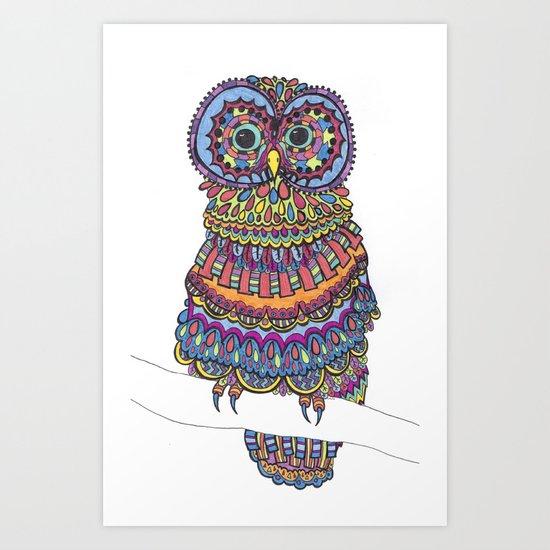Patterned Owl Art Print