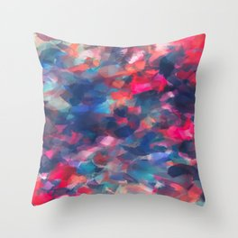 splash painting texture abstract background in red pink blue Throw Pillow