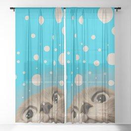 """""""Fun Kitty and Polka dots"""" Sheer Curtain"""