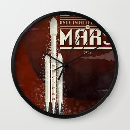 Spacex rocket to Mars Wall Clock