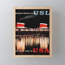 retro united states lines   no finer way to - usa. circa 1950s  Framed Mini Art Print