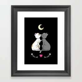 Kawaii cats in love Framed Art Print