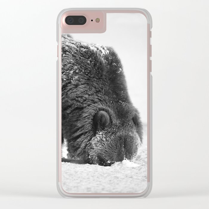 Alaskan Grizzly Bear in Snow, B & W - 2 Clear iPhone Case