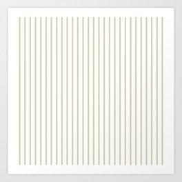 Spanish Moss Green Pinstripe on White Art Print
