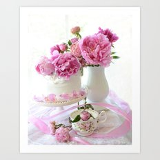 Shabby Chic Pink and White Peony Romantic Prints and Home Decor Art Print