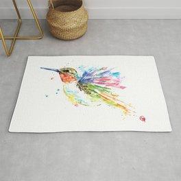 Ruby Throated Hummingbird - Watercolor Bird Painting Rug