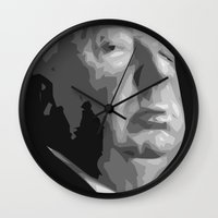 hitchcock Wall Clocks featuring Alfred Hitchcock by  David Somers