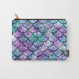 Mermaid Pattern - Aqua & Purple Glitter Texture Carry-All Pouch