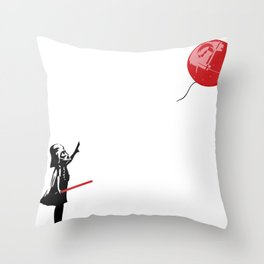 That's No Banksy Balloon (It's a Space Station) Throw Pillow
