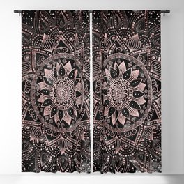 Elegant rose gold mandala dots and marble artwork Blackout Curtain