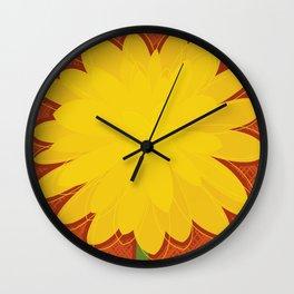 Yellow Dahlia Wall Clock