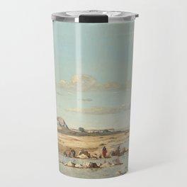 Paul Guigou Washerwomen on the Banks of the Durance 1866 Painting Travel Mug