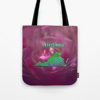 virginia Tote Bags featuring Virginia Map by Roger Wedegis