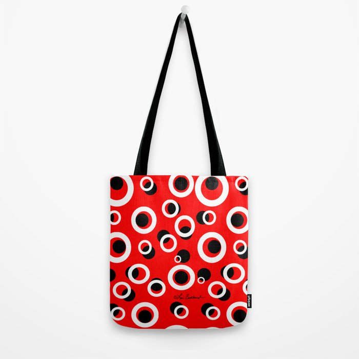 Red White Black Circles Tote Bag