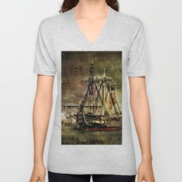Tall ship USS Constitution Unisex V-Neck