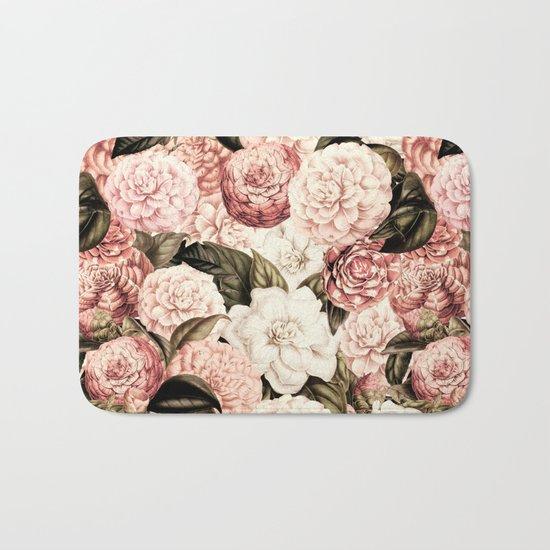 Vintage & Shabby floral camellia flowers watercolor pattern Bath Mat
