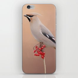 Waxwing with Berries iPhone Skin