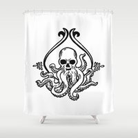 cthulhu Shower Curtains featuring Cthulhu by MyOwlHasAntlers
