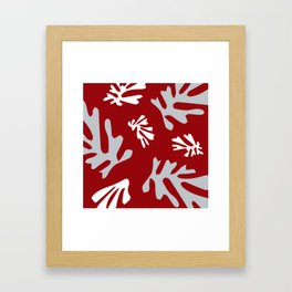 Matisse Silver & Red Holiday Leaves Framed Art Print