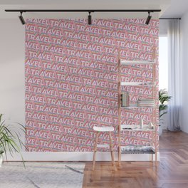'Travel' Trendy Rainbow Text Pattern (Pink) Wall Mural