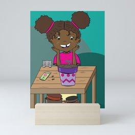 Happy Girl Starring at her Seedling Mini Art Print