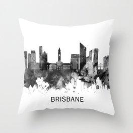 Brisbane Australia Skyline BW Throw Pillow