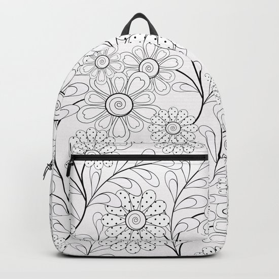 .Floral pattern on a white background. Backpack