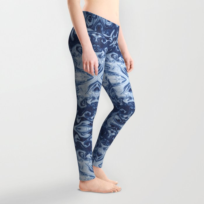 Yutaka - spilled ink marbled paper marbling swirl india ink minimal modern blue indigo pattern Leggings