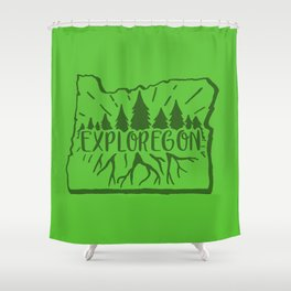 Exploregon (greens) Shower Curtain