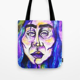 Purple Portrait Of A Woman Surreal Pastel Blue Sadness Frida Kahlo Tote Bag