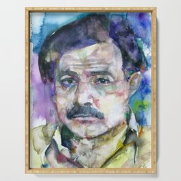 ERNEST HEMINGWAY - watercolor portrait.6 Serving Tray